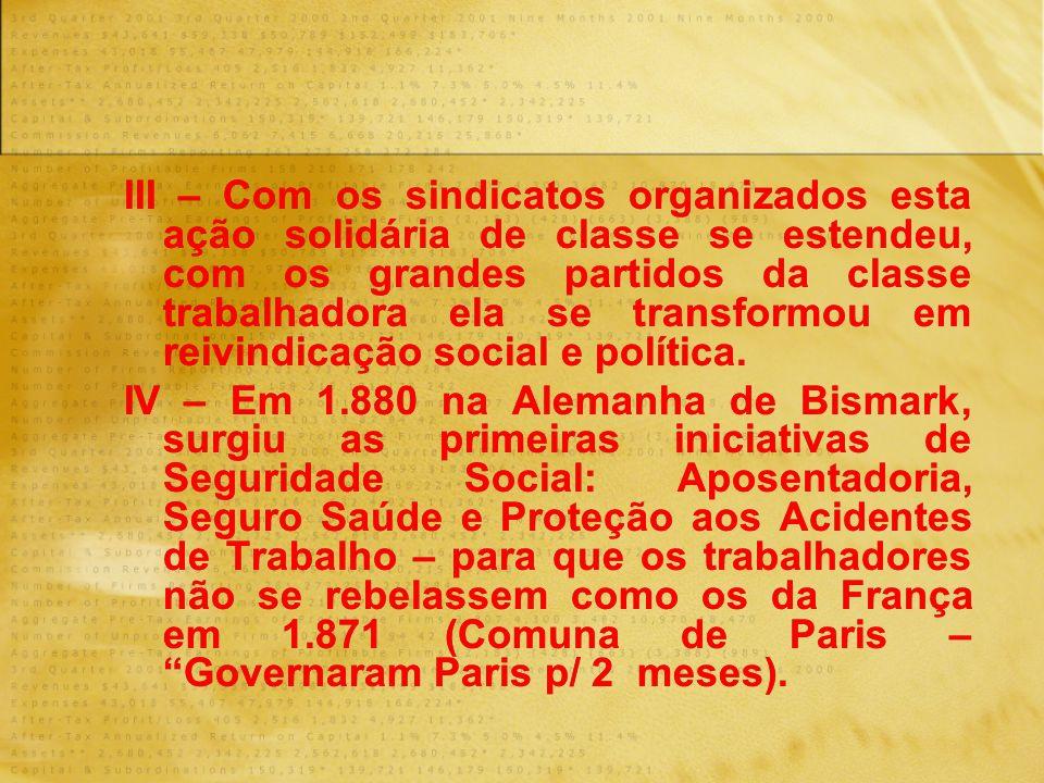 III – Com os sindicatos organizados esta ação solidária de classe se estendeu, com os grandes partidos da classe trabalhadora ela se transformou em re