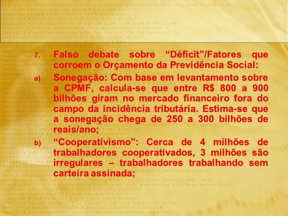 7. Falso debate sobre Déficit/Fatores que corroem o Orçamento da Previdência Social: a) Sonegação: Com base em levantamento sobre a CPMF, calcula-se q