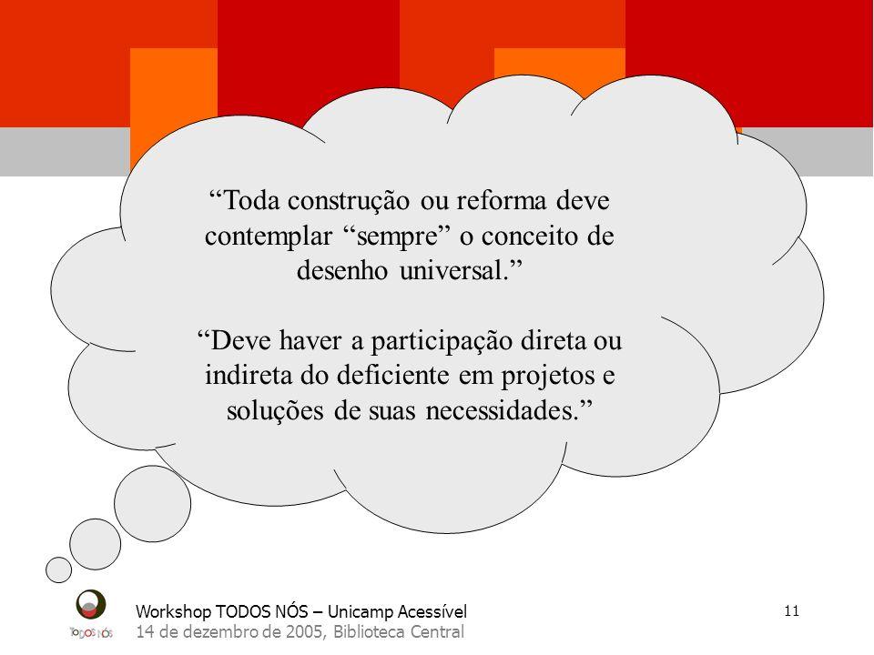 Workshop TODOS NÓS – Unicamp Acessível 14 de dezembro de 2005, Biblioteca Central 11 Toda construção ou reforma deve contemplar sempre o conceito de desenho universal.