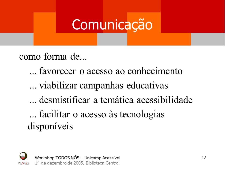 Workshop TODOS NÓS – Unicamp Acessível 14 de dezembro de 2005, Biblioteca Central 12 Comunicação como forma de......