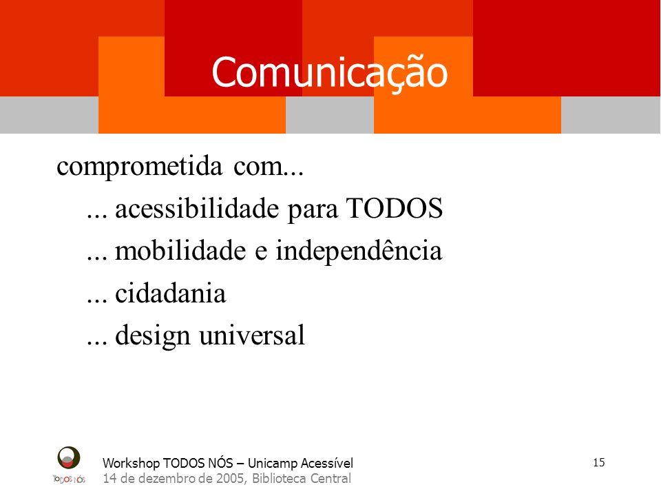 Workshop TODOS NÓS – Unicamp Acessível 14 de dezembro de 2005, Biblioteca Central 15 Comunicação comprometida com......