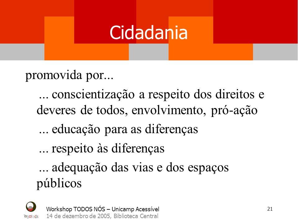 Workshop TODOS NÓS – Unicamp Acessível 14 de dezembro de 2005, Biblioteca Central 21 Cidadania promovida por......