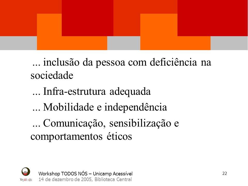 Workshop TODOS NÓS – Unicamp Acessível 14 de dezembro de 2005, Biblioteca Central 22...