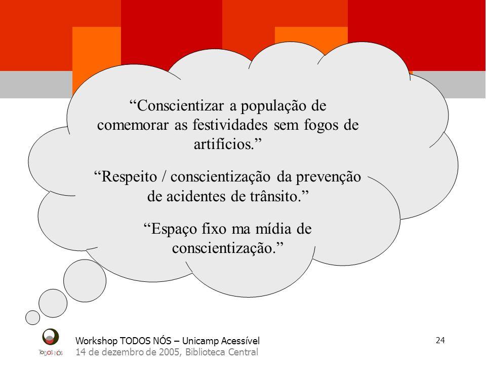 Workshop TODOS NÓS – Unicamp Acessível 14 de dezembro de 2005, Biblioteca Central 24 Conscientizar a população de comemorar as festividades sem fogos de artifícios.