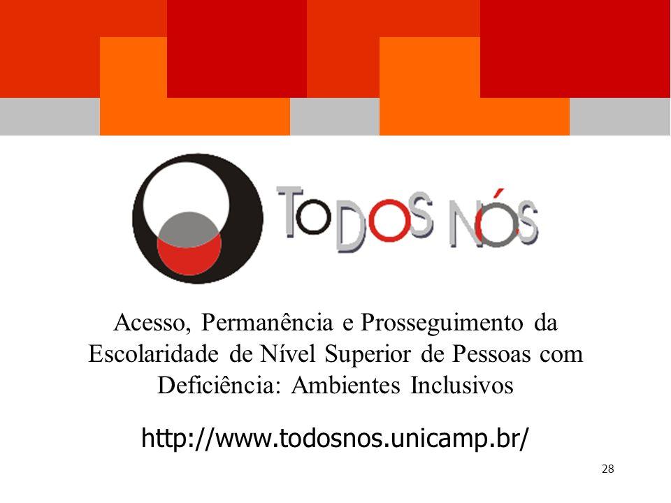 Workshop TODOS NÓS – Unicamp Acessível 14 de dezembro de 2005, Biblioteca Central 28 Acesso, Permanência e Prosseguimento da Escolaridade de Nível Superior de Pessoas com Deficiência: Ambientes Inclusivos http://www.todosnos.unicamp.br/