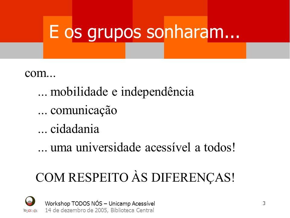 Workshop TODOS NÓS – Unicamp Acessível 14 de dezembro de 2005, Biblioteca Central 3 E os grupos sonharam...