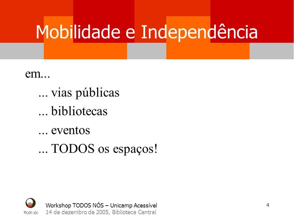Workshop TODOS NÓS – Unicamp Acessível 14 de dezembro de 2005, Biblioteca Central 4 Mobilidade e Independência em......