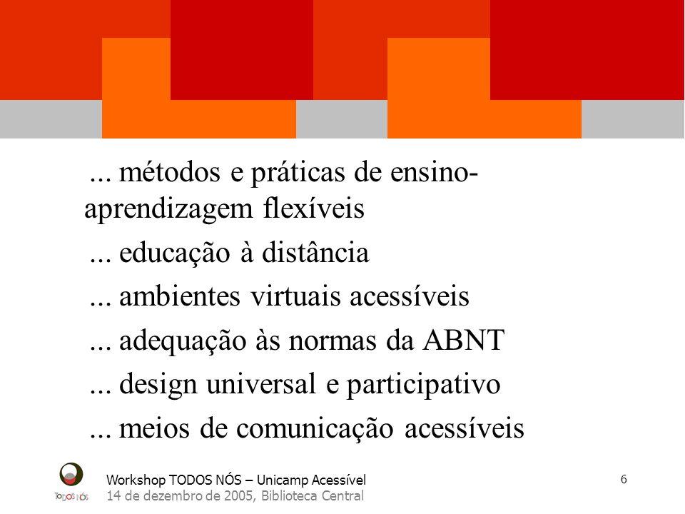 Workshop TODOS NÓS – Unicamp Acessível 14 de dezembro de 2005, Biblioteca Central 17 Padronização e especificações de instalações físicas, elaboração de cartilha orientativas.
