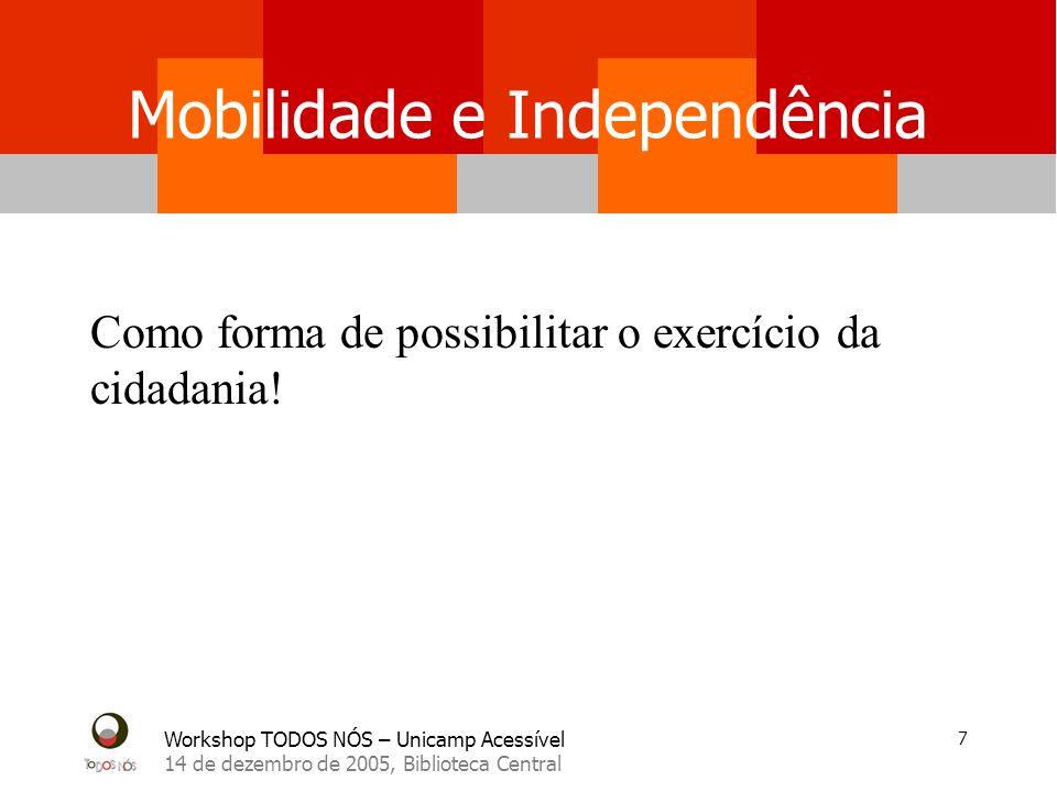 Workshop TODOS NÓS – Unicamp Acessível 14 de dezembro de 2005, Biblioteca Central 7 Mobilidade e Independência Como forma de possibilitar o exercício da cidadania!