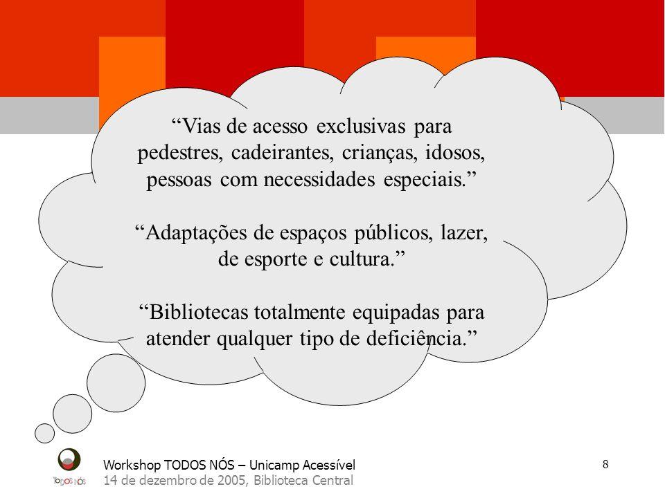 Workshop TODOS NÓS – Unicamp Acessível 14 de dezembro de 2005, Biblioteca Central 8 Vias de acesso exclusivas para pedestres, cadeirantes, crianças, idosos, pessoas com necessidades especiais.
