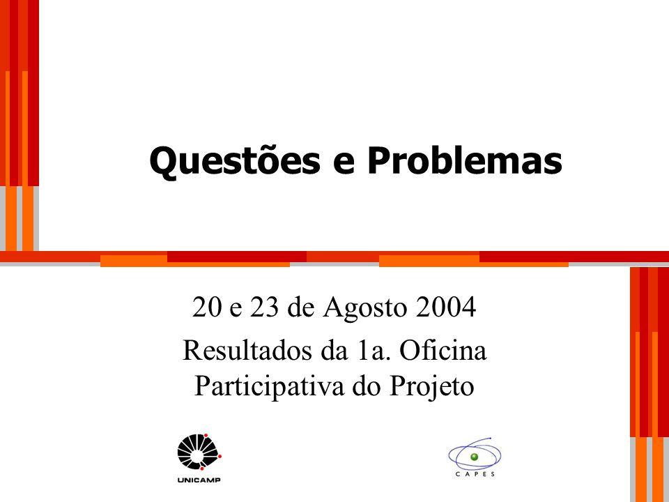 Questões e Problemas 20 e 23 de Agosto 2004 Resultados da 1a. Oficina Participativa do Projeto