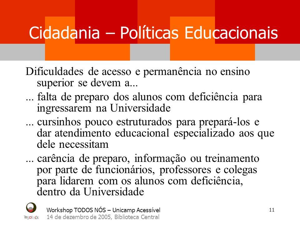 Workshop TODOS NÓS – Unicamp Acessível 14 de dezembro de 2005, Biblioteca Central 11 Cidadania – Políticas Educacionais Dificuldades de acesso e perma