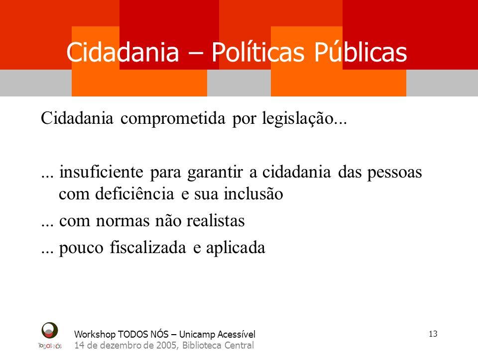 Workshop TODOS NÓS – Unicamp Acessível 14 de dezembro de 2005, Biblioteca Central 13 Cidadania comprometida por legislação...... insuficiente para gar