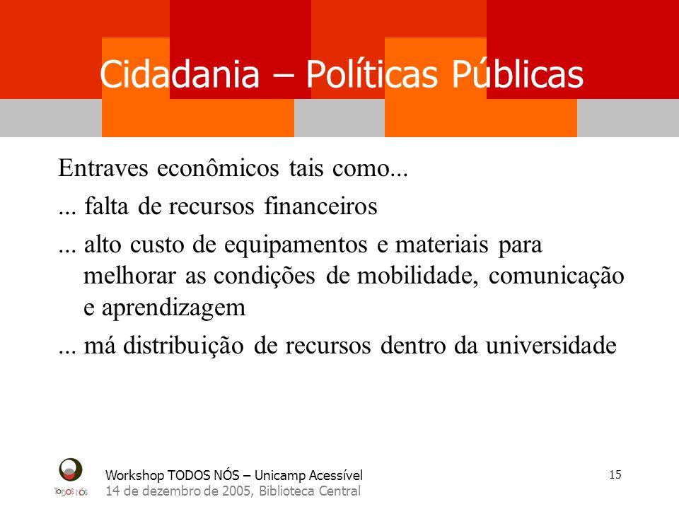 Workshop TODOS NÓS – Unicamp Acessível 14 de dezembro de 2005, Biblioteca Central 15 Cidadania – Políticas Públicas Entraves econômicos tais como.....