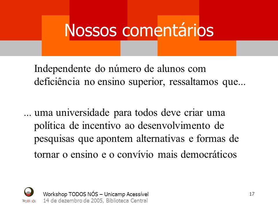 Workshop TODOS NÓS – Unicamp Acessível 14 de dezembro de 2005, Biblioteca Central 17 Nossos comentários Independente do número de alunos com deficiênc