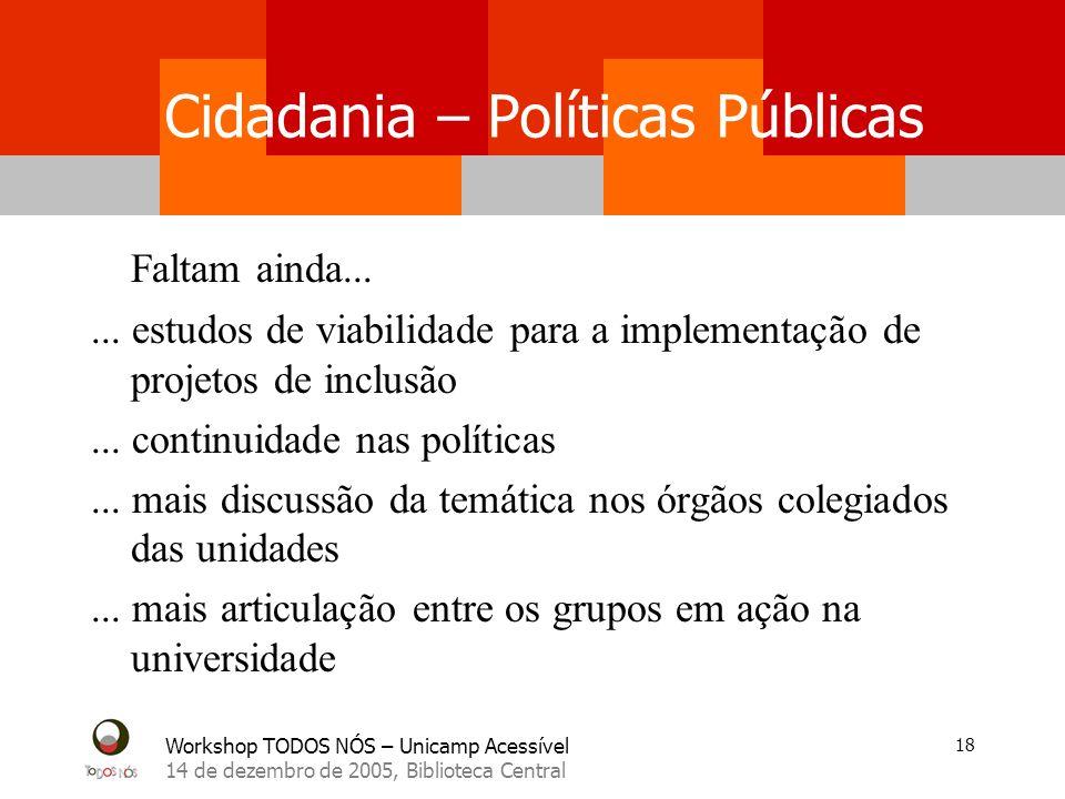 Workshop TODOS NÓS – Unicamp Acessível 14 de dezembro de 2005, Biblioteca Central 18 Cidadania – Políticas Públicas Faltam ainda...... estudos de viab