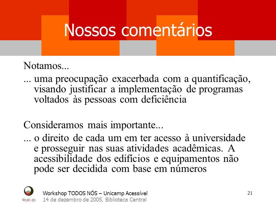 Workshop TODOS NÓS – Unicamp Acessível 14 de dezembro de 2005, Biblioteca Central 21 Nossos comentários Notamos...... uma preocupação exacerbada com a