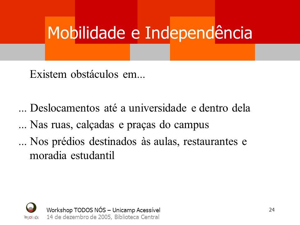 Workshop TODOS NÓS – Unicamp Acessível 14 de dezembro de 2005, Biblioteca Central 24 Mobilidade e Independência Existem obstáculos em...... Deslocamen