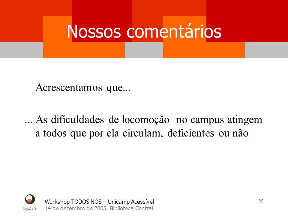Workshop TODOS NÓS – Unicamp Acessível 14 de dezembro de 2005, Biblioteca Central 25 Nossos comentários Acrescentamos que...... As dificuldades de loc