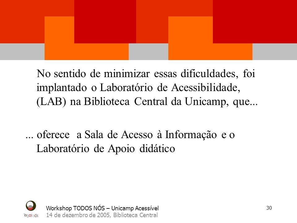 Workshop TODOS NÓS – Unicamp Acessível 14 de dezembro de 2005, Biblioteca Central 30 No sentido de minimizar essas dificuldades, foi implantado o Labo