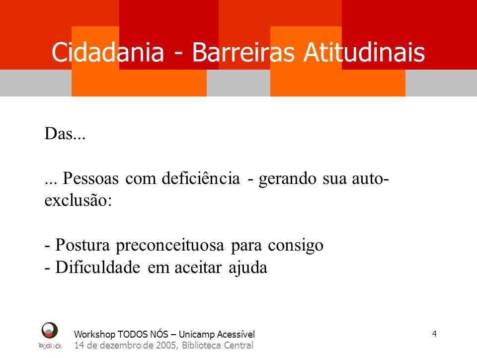 Workshop TODOS NÓS – Unicamp Acessível 14 de dezembro de 2005, Biblioteca Central 15 Cidadania – Políticas Públicas Entraves econômicos tais como......