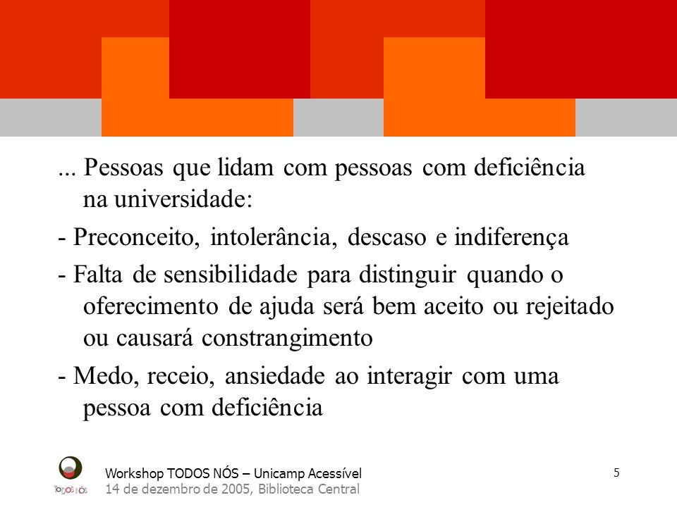 Workshop TODOS NÓS – Unicamp Acessível 14 de dezembro de 2005, Biblioteca Central 26 Mobilidade e Independência Os participantes notaram a falta ou insuficiência de......