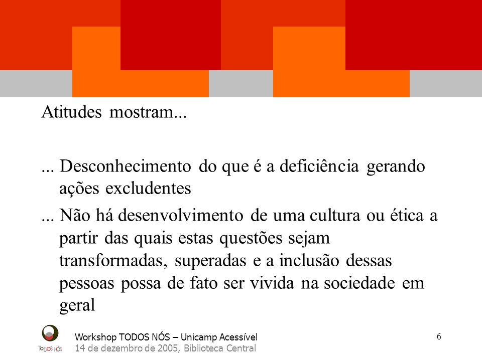 Workshop TODOS NÓS – Unicamp Acessível 14 de dezembro de 2005, Biblioteca Central 6 Atitudes mostram...... Desconhecimento do que é a deficiência gera