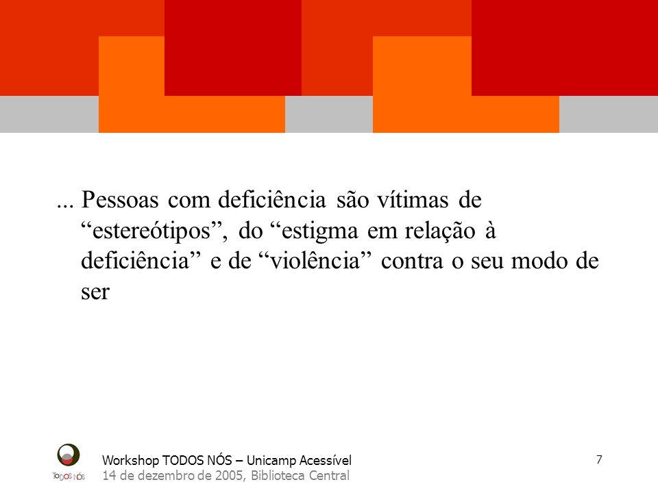 Workshop TODOS NÓS – Unicamp Acessível 14 de dezembro de 2005, Biblioteca Central 7... Pessoas com deficiência são vítimas de estereótipos, do estigma