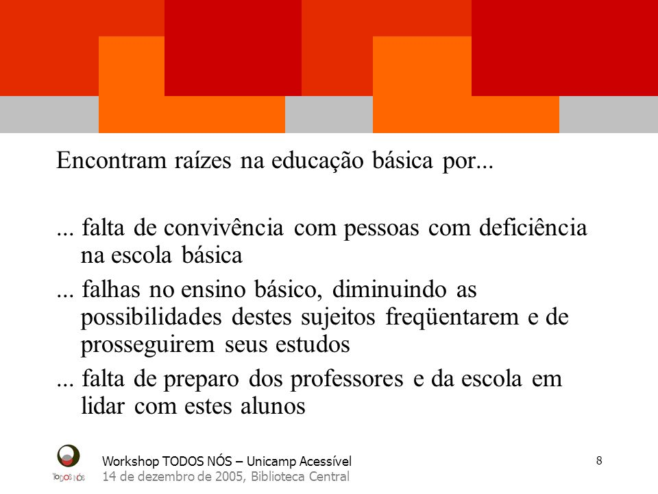 Workshop TODOS NÓS – Unicamp Acessível 14 de dezembro de 2005, Biblioteca Central 8 Encontram raízes na educação básica por...... falta de convivência