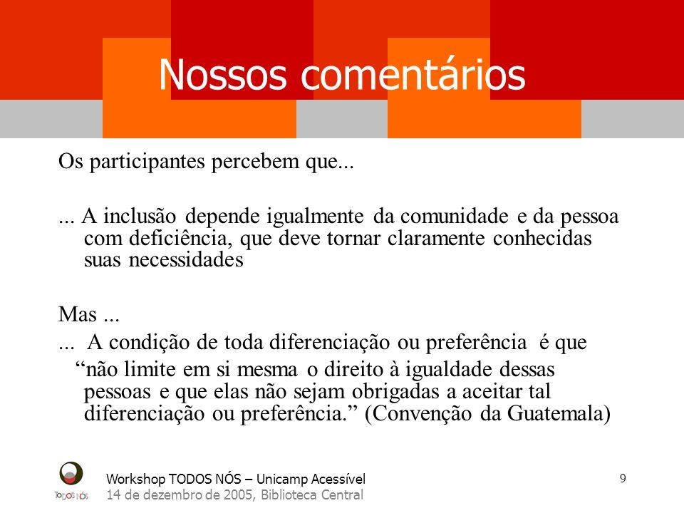 Workshop TODOS NÓS – Unicamp Acessível 14 de dezembro de 2005, Biblioteca Central 9 Nossos comentários Os participantes percebem que...... A inclusão