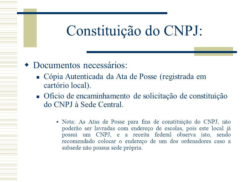 Constituição do CNPJ: Documentos necessários: Cópia Autenticada da Ata de Posse (registrada em cartório local).