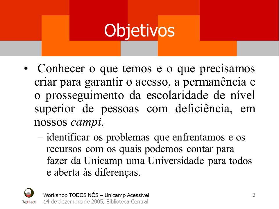 Workshop TODOS NÓS – Unicamp Acessível 14 de dezembro de 2005, Biblioteca Central 4