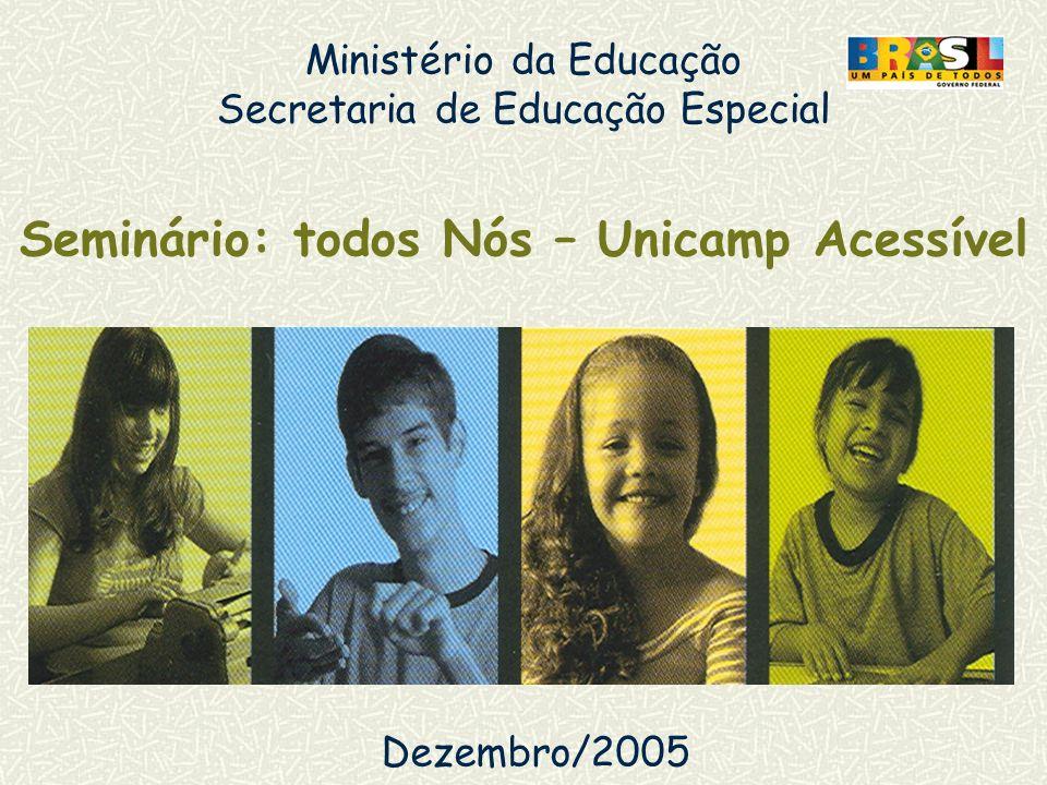 Ministério da Educação Secretaria de Educação Especial Seminário: todos Nós – Unicamp Acessível Dezembro/2005