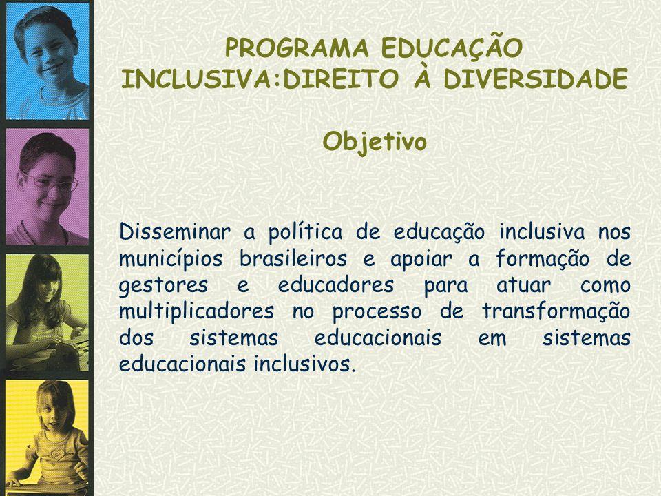 PROGRAMA EDUCAÇÃO INCLUSIVA:DIREITO À DIVERSIDADE Objetivo Disseminar a política de educação inclusiva nos municípios brasileiros e apoiar a formação