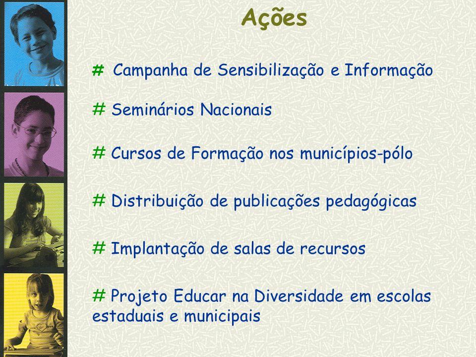 Ações # Campanha de Sensibilização e Informação # Seminários Nacionais # Cursos de Formação nos municípios-pólo # Distribuição de publicações pedagógi
