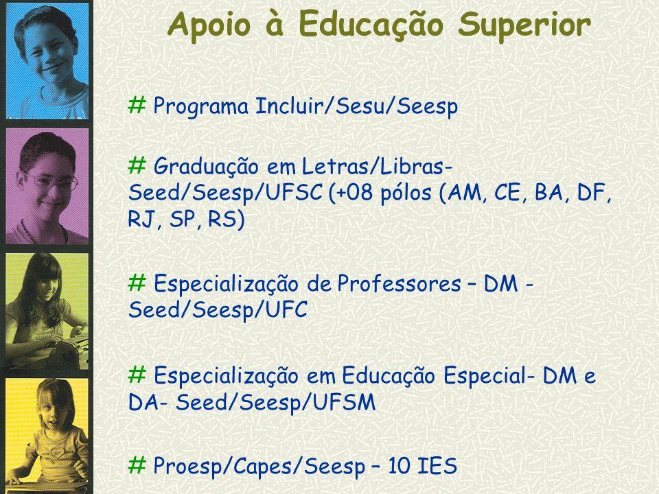 Apoio à Educação Superior # Programa Incluir/Sesu/Seesp # Graduação em Letras/Libras- Seed/Seesp/UFSC (+08 pólos (AM, CE, BA, DF, RJ, SP, RS) # Especi