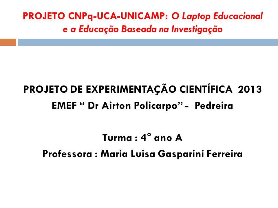 PROJETO CNPq-UCA-UNICAMP: O Laptop Educacional e a Educação Baseada na Investigação PROJETO DE EXPERIMENTAÇÃO CIENTÍFICA 2013 EMEF Dr Airton Policarpo