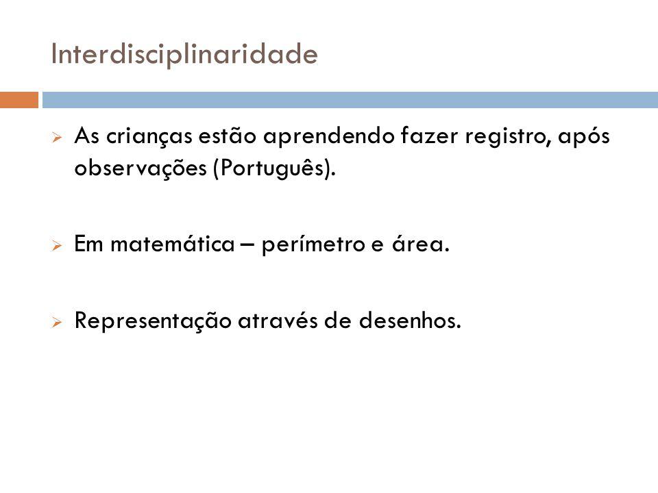 Interdisciplinaridade As crianças estão aprendendo fazer registro, após observações (Português). Em matemática – perímetro e área. Representação atrav