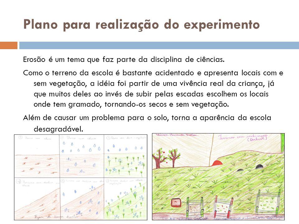 Plano para realização do experimento Erosão é um tema que faz parte da disciplina de ciências. Como o terreno da escola é bastante acidentado e aprese
