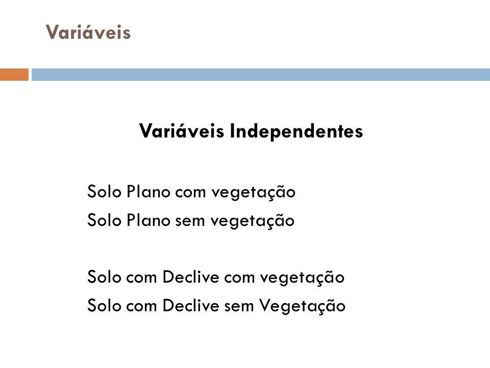 Variáveis Variáveis Independentes Solo Plano com vegetação Solo Plano sem vegetação Solo com Declive com vegetação Solo com Declive sem Vegetação