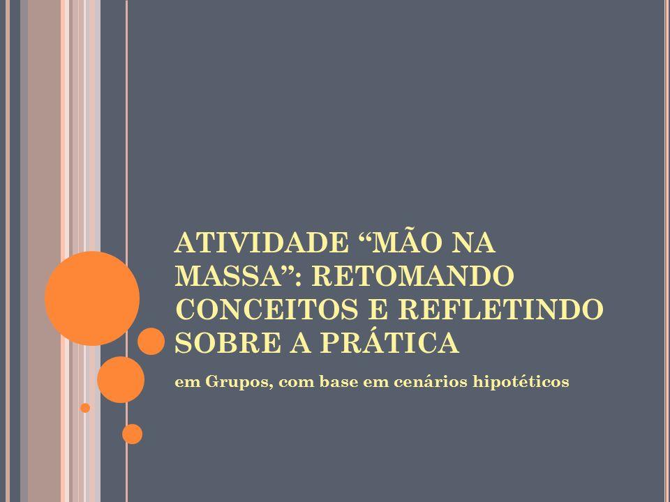 ATIVIDADE MÃO NA MASSA: RETOMANDO CONCEITOS E REFLETINDO SOBRE A PRÁTICA em Grupos, com base em cenários hipotéticos