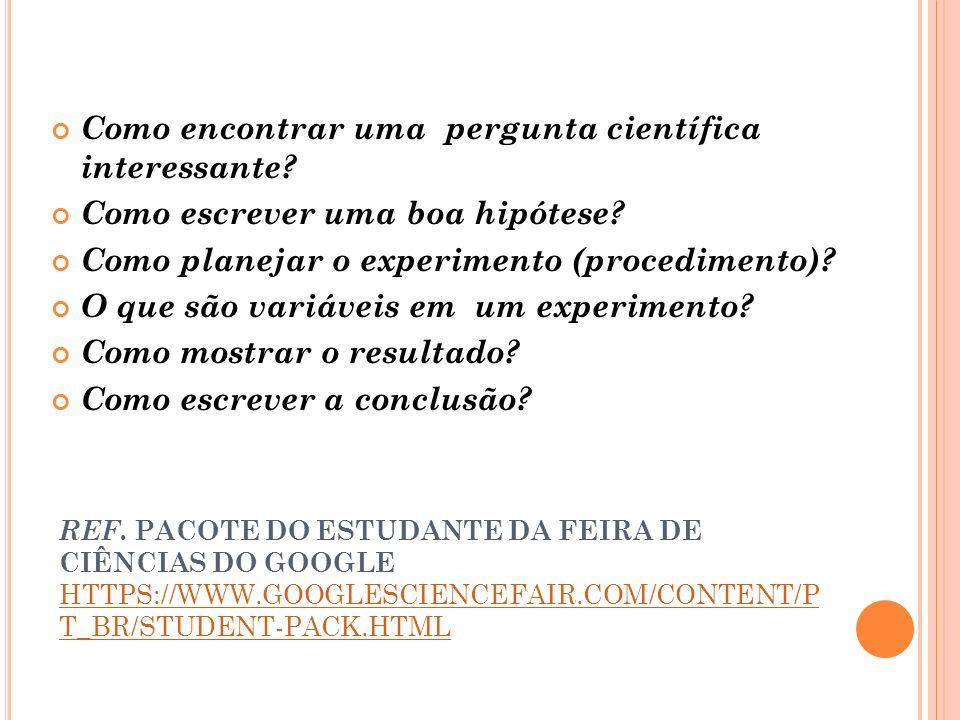 REF. PACOTE DO ESTUDANTE DA FEIRA DE CIÊNCIAS DO GOOGLE HTTPS://WWW.GOOGLESCIENCEFAIR.COM/CONTENT/P T_BR/STUDENT-PACK.HTML HTTPS://WWW.GOOGLESCIENCEFA
