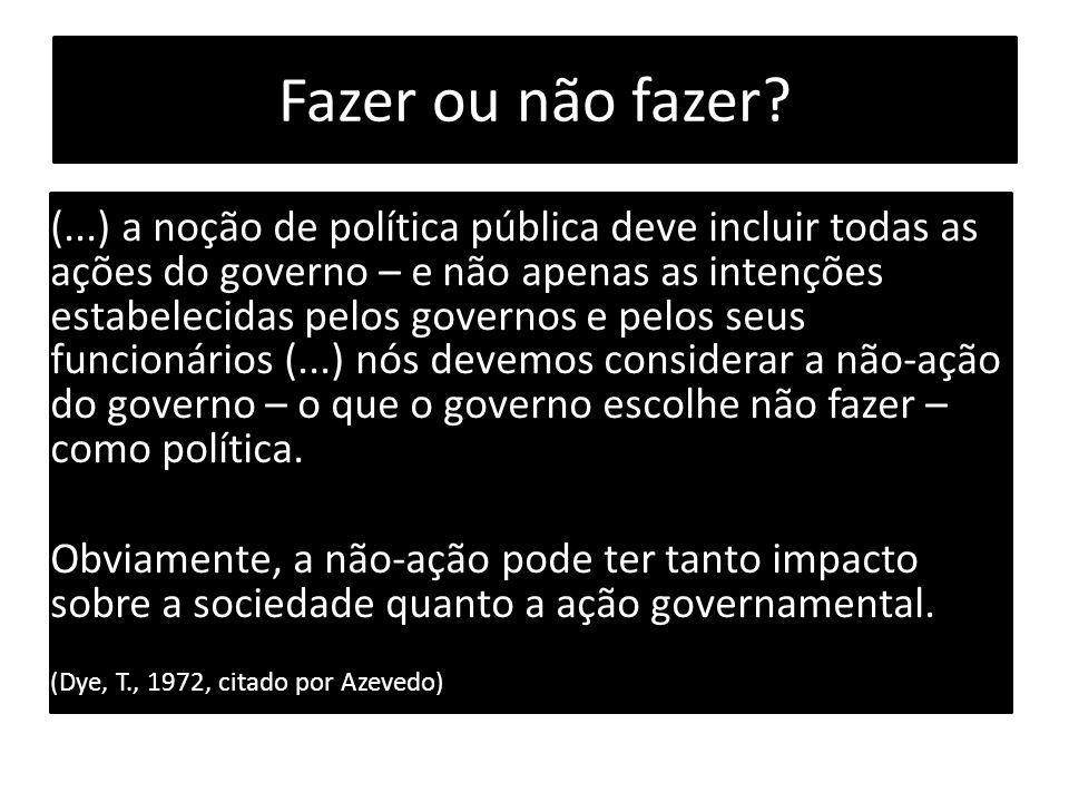 Fazer ou não fazer? (...) a noção de política pública deve incluir todas as ações do governo – e não apenas as intenções estabelecidas pelos governos
