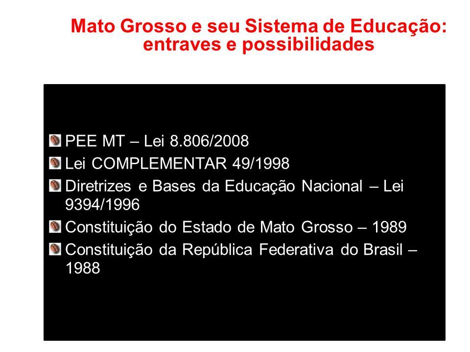 Mato Grosso e seu Sistema de Educação: entraves e possibilidades PEE MT – Lei 8.806/2008 Lei COMPLEMENTAR 49/1998 Diretrizes e Bases da Educação Nacional – Lei 9394/1996 Constituição do Estado de Mato Grosso – 1989 Constituição da República Federativa do Brasil – 1988