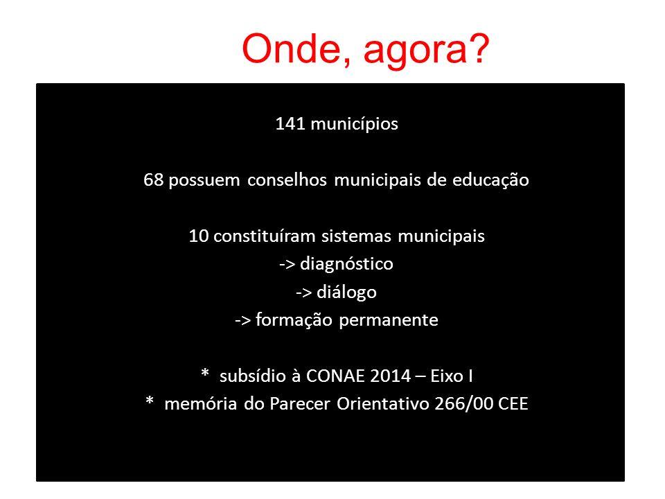 Onde, agora? 141 municípios 68 possuem conselhos municipais de educação 10 constituíram sistemas municipais -> diagnóstico -> diálogo -> formação perm