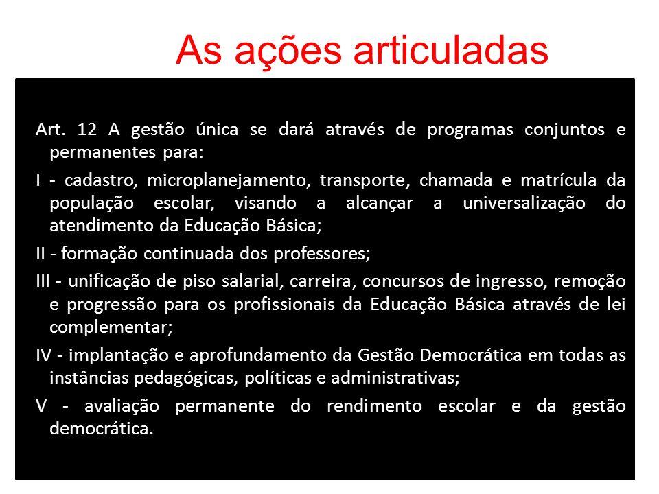 As ações articuladas Art. 12 A gestão única se dará através de programas conjuntos e permanentes para: I - cadastro, microplanejamento, transporte, ch
