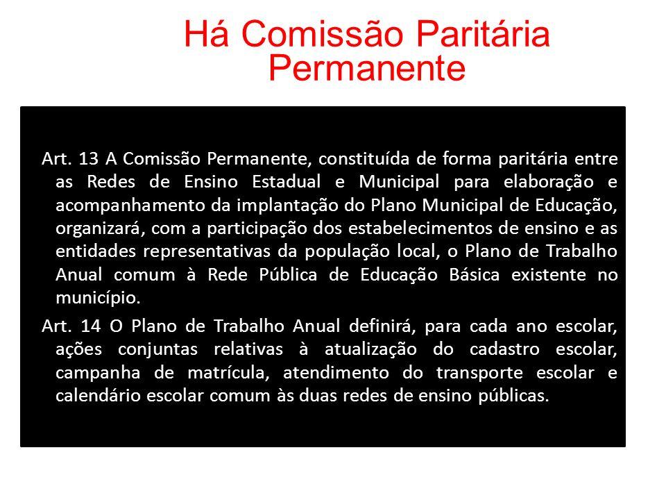 Há Comissão Paritária Permanente Art. 13 A Comissão Permanente, constituída de forma paritária entre as Redes de Ensino Estadual e Municipal para elab