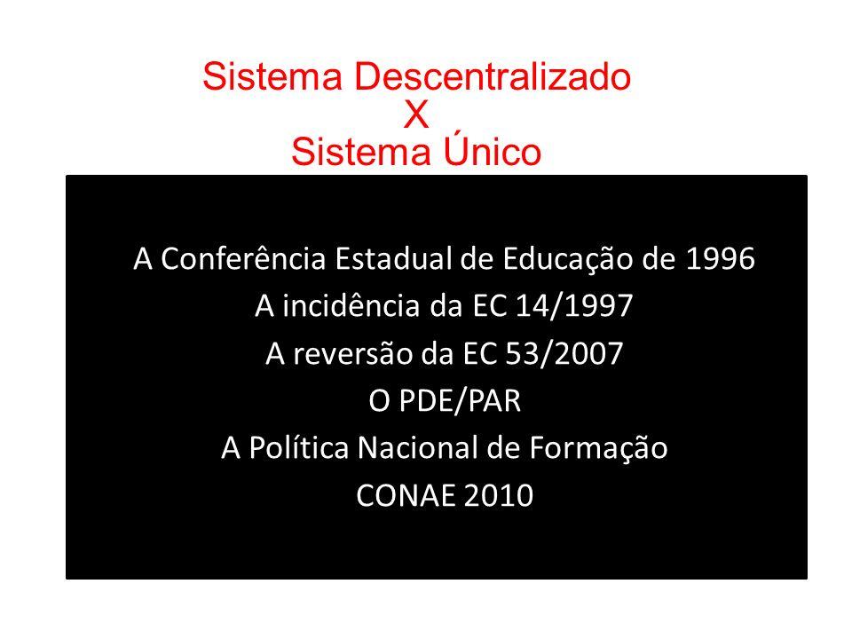 Sistema Descentralizado X Sistema Único A Conferência Estadual de Educação de 1996 A incidência da EC 14/1997 A reversão da EC 53/2007 O PDE/PAR A Política Nacional de Formação CONAE 2010