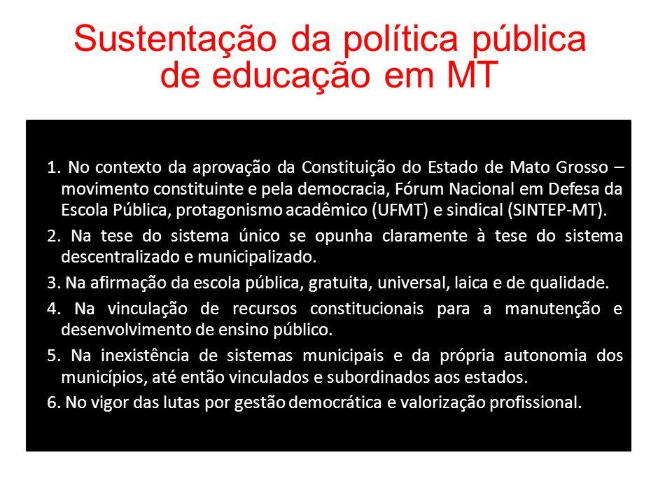 Sustentação da política pública de educação em MT 1. No contexto da aprovação da Constituição do Estado de Mato Grosso – movimento constituinte e pela