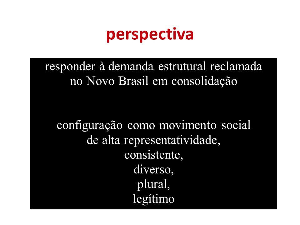 perspectiva responder à demanda estrutural reclamada no Novo Brasil em consolidação configuração como movimento social de alta representatividade, consistente, diverso, plural, legítimo
